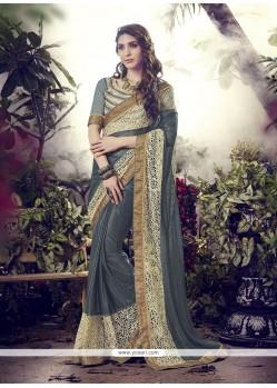 Spellbinding Lycra Grey Designer Saree