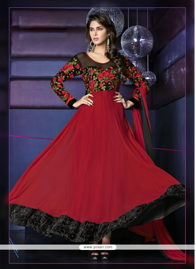 Amazing Maroon Resham Anarkali Suit