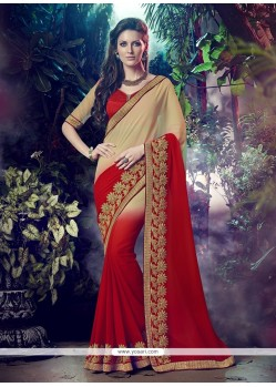 Patch Border Georgette Designer Saree In Red