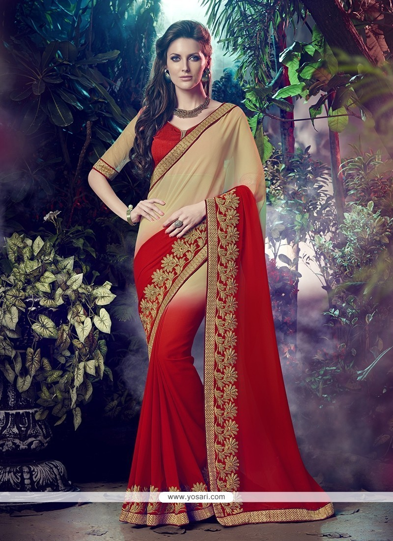 Patch Border Georgette Designer Saree In Red