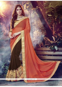 Surpassing Georgette Brown Embroidered Work Designer Saree