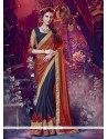 Awesome Navy Blue Embroidered Work Faux Chiffon Designer Saree