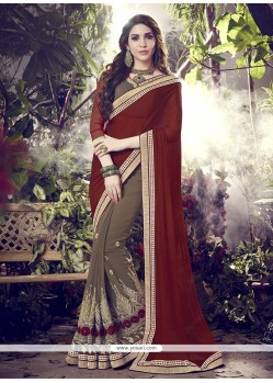 Aesthetic Brown Designer Saree