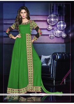 Deserving Green Georgette Anarkali Suit