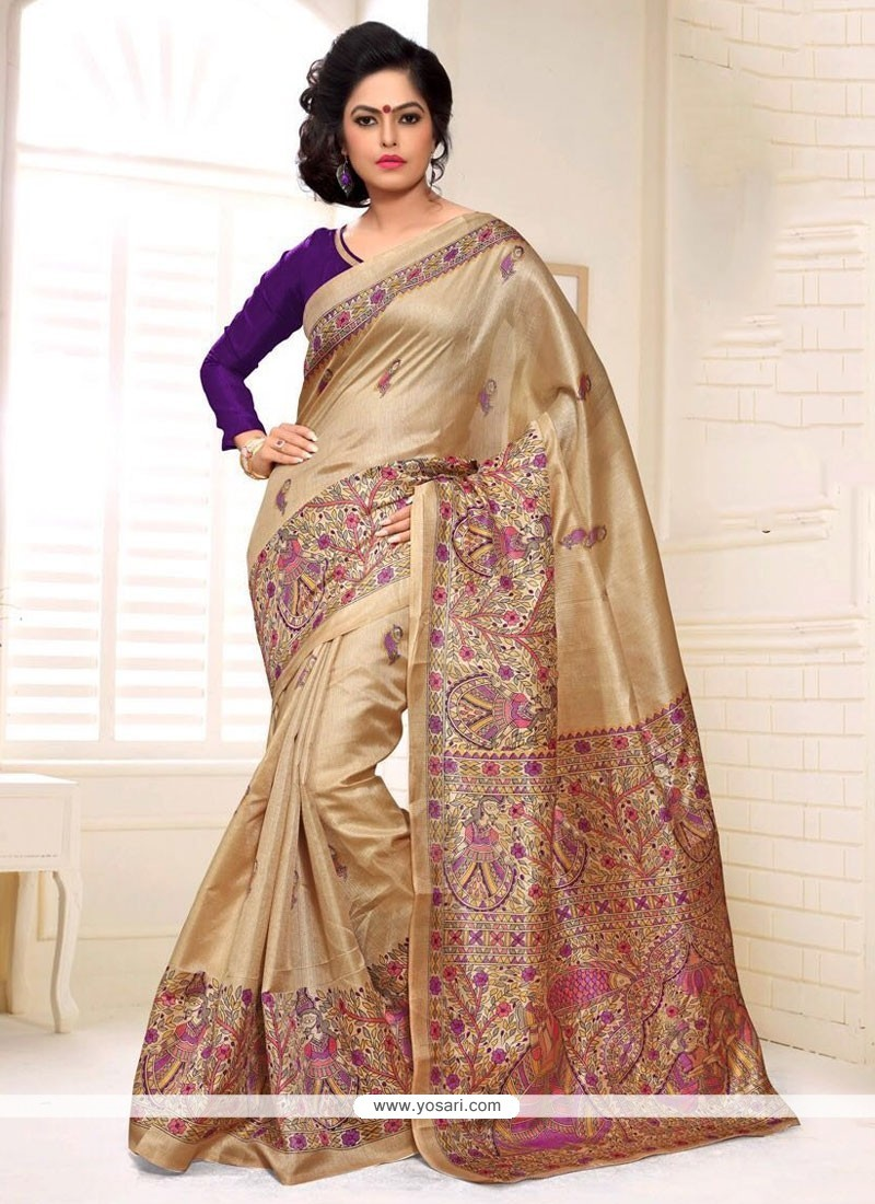 Adorning Silk Multi Colour Print Work Casual Saree