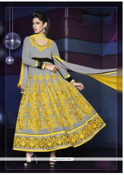 Charismatic Grey Georgette Anarkali Suit