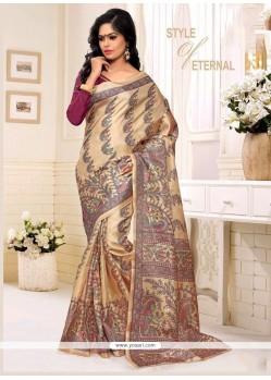 Print Silk Casual Saree In Multi Colour