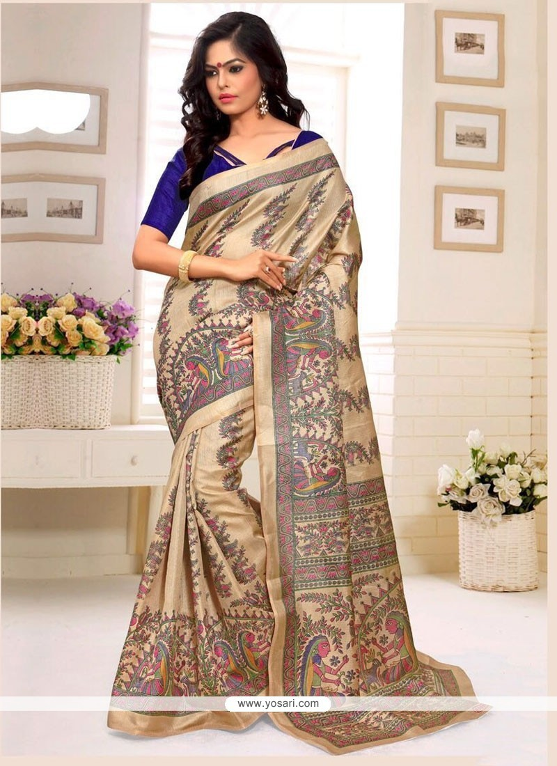 Staggering Print Work Casual Saree