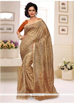 Gripping Silk Print Work Casual Saree