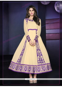 Breathtaking Cream Anarkali Salwar Suit