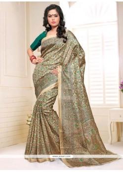 Appealing Silk Print Work Casual Saree