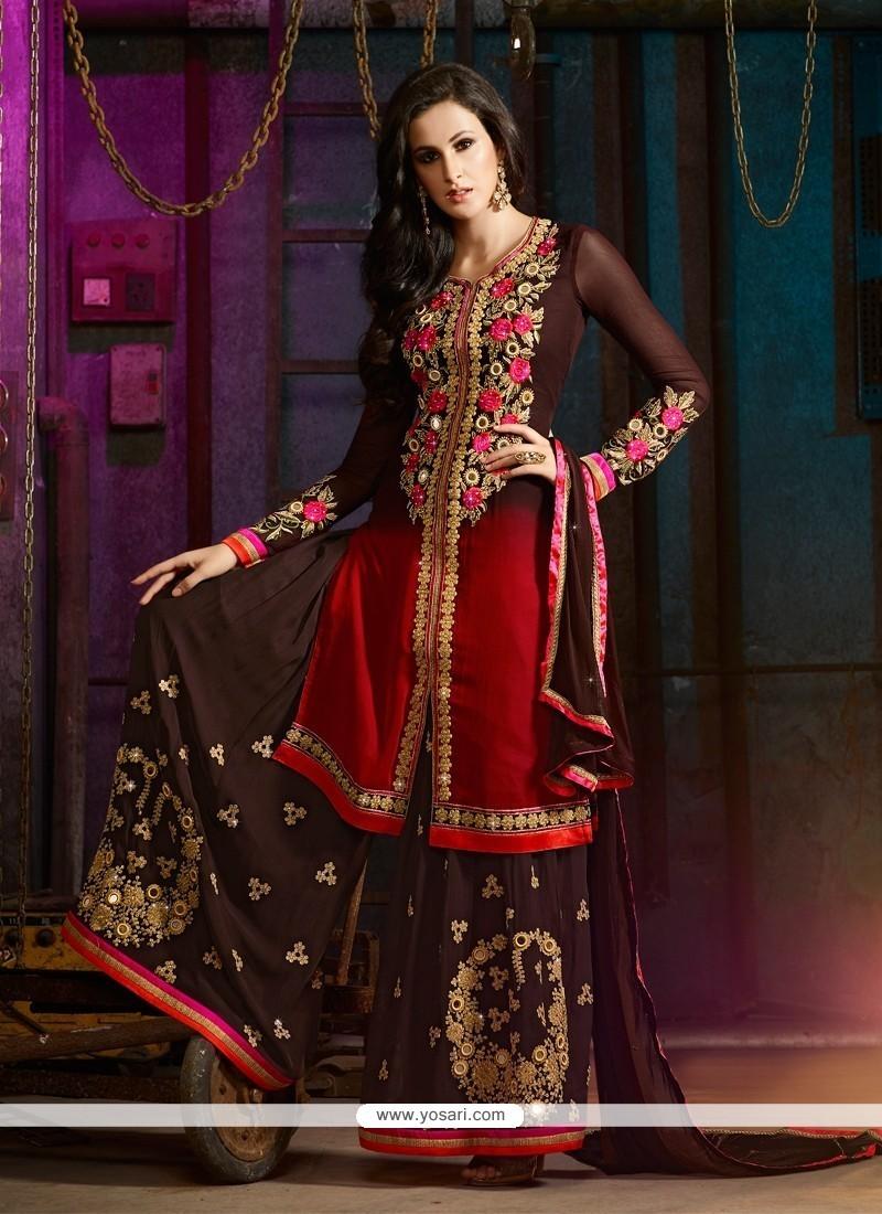 Sensible Georgette Brown Designer Palazzo Salwar Kameez