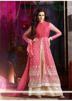 Embroidered Net Designer Palazzo Salwar Kameez In Pink