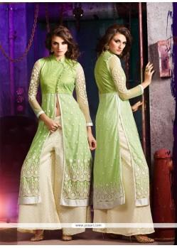Savory Resham Work Green Net Designer Palazzo Salwar Kameez