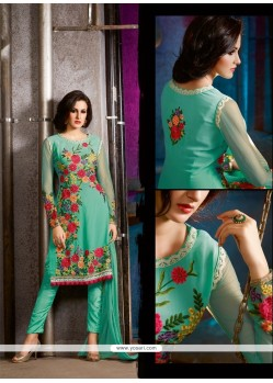 Sterling Embroidered Work Sea Green Pant Style Suit