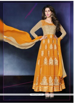 Dazzling Orange Zari Anarkali Salwar Suit