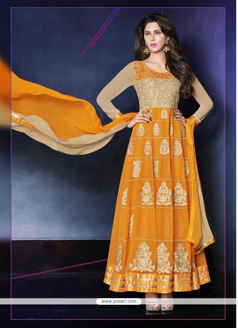 Dazzling Orange Zari Anarkali Salwar Suit
