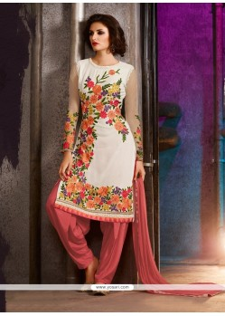Embroidered Georgette Punjabi Suit In Off White
