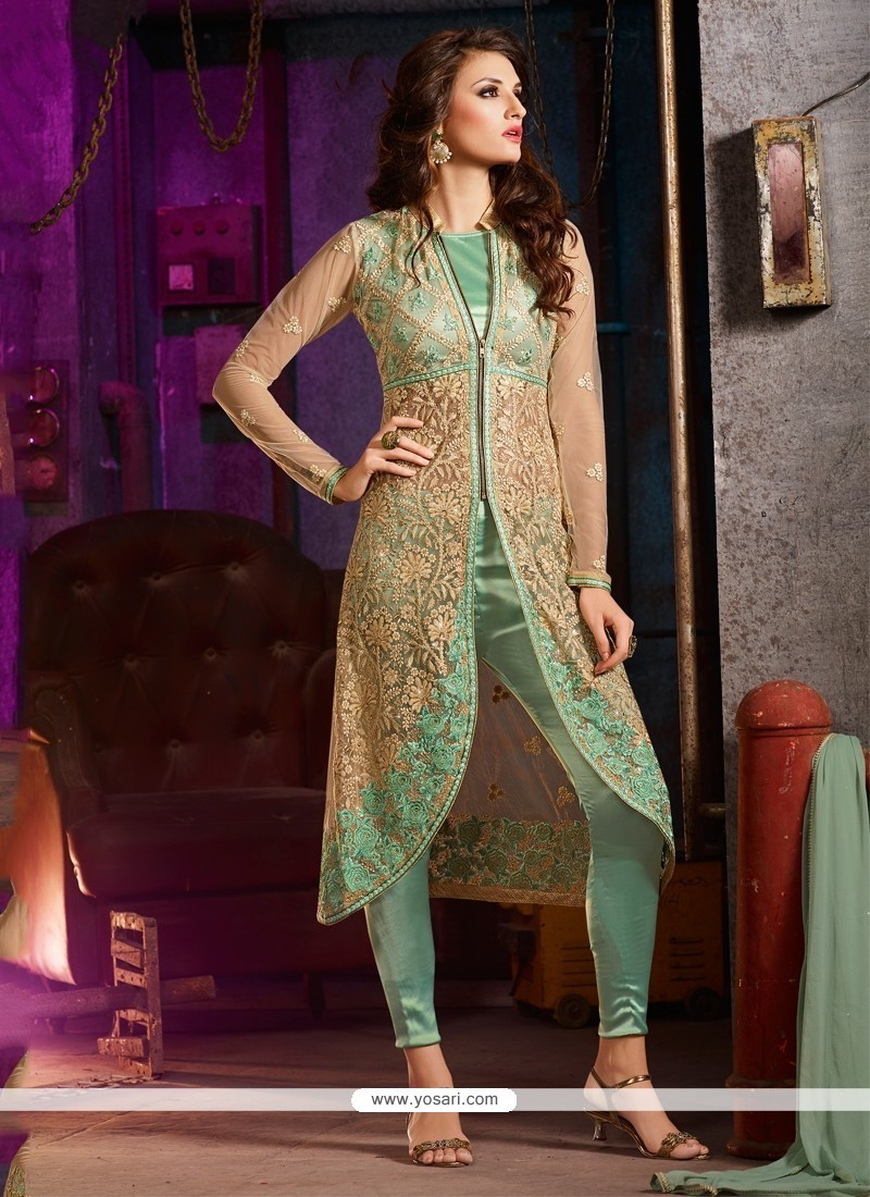 Intricate Net Sea Green Pant Style Suit
