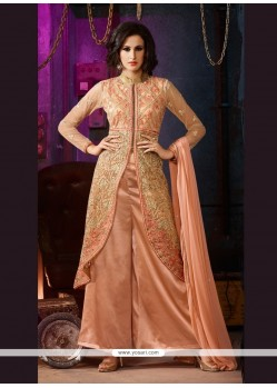 Enchanting Net Peach Embroidered Work Designer Palazzo Salwar Kameez