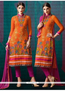 Intrinsic Hot Pink And Orange Georgette Churidar Designer Suit