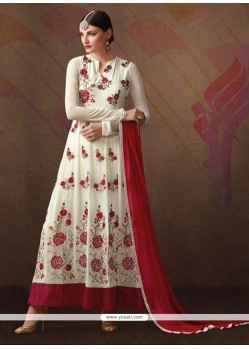 Delightful Georgette White Anarkali Salwar Suit