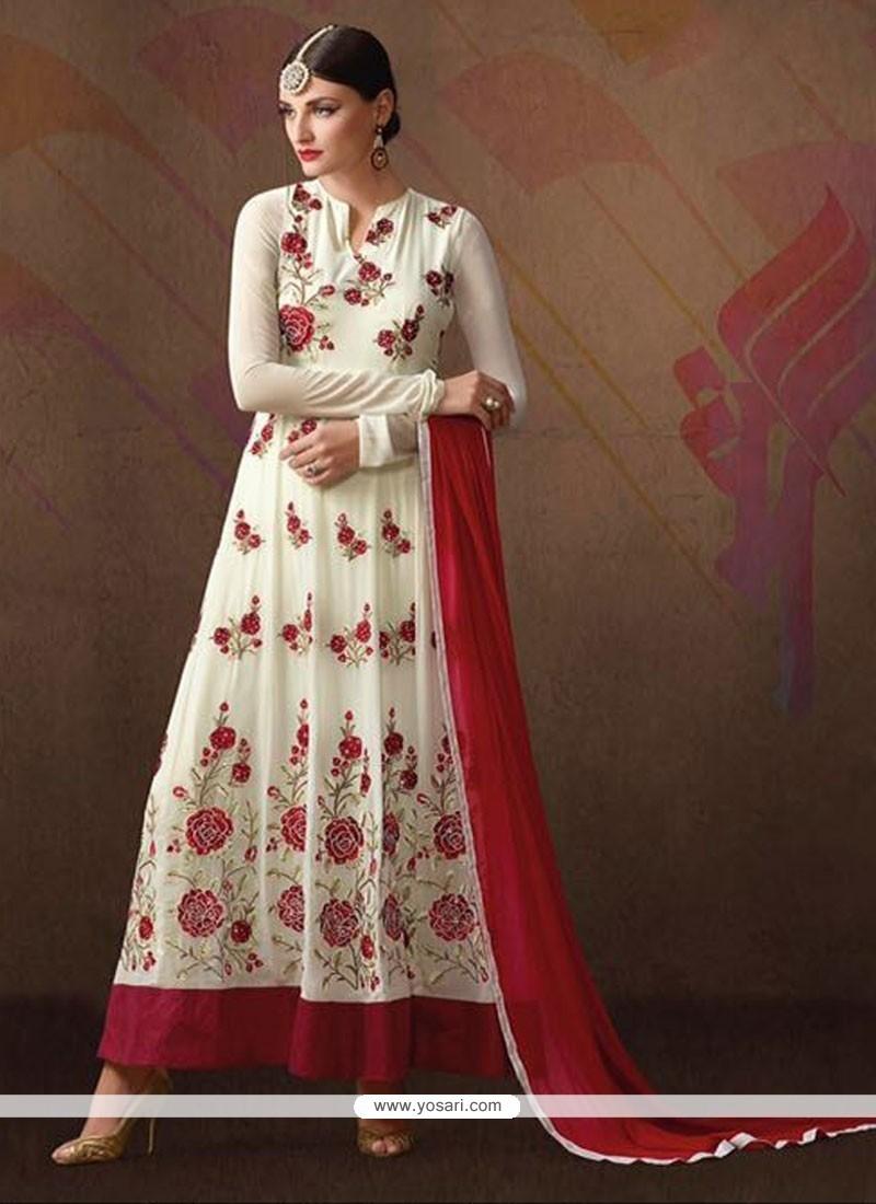 Delightful Georgette White Anarkali Salwar Suit