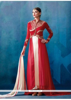Strange Off White And Red Patch Border Work Designer Salwar Suit
