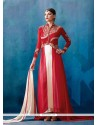 Strange Off White And Red Patch Border Work Designer Salwar Suit