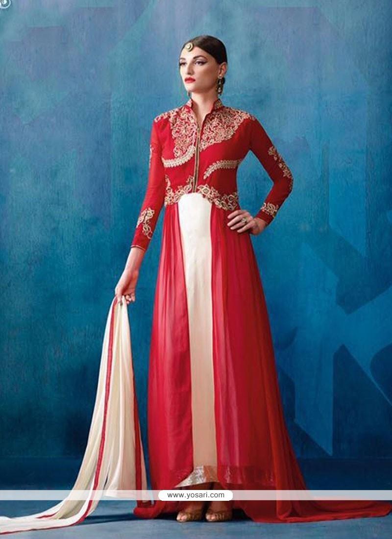 Buy Strange Off White and Red Patch Border Work Designer Salwar Suit ...