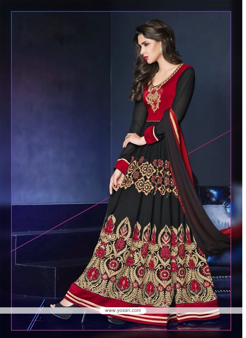 Black And Red Georgette Anarkali Suit