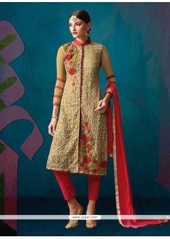 Outstanding Patch Border Work Cream And Red Churidar Designer Suit