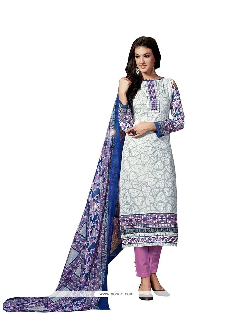 Precious Print Work Fancy Fabric Pant Style Suit