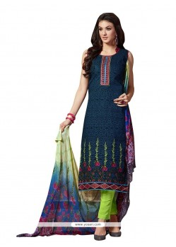 Aspiring Fancy Fabric Multi Colour Print Work Pant Style Suit