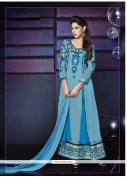 Splendid Blue Pure Georgette Anarkali Suit