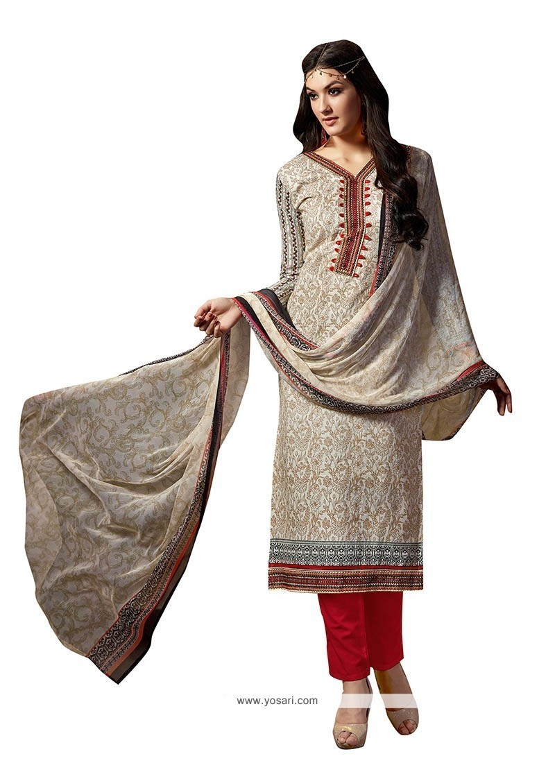 Tiptop Fancy Fabric Beige Embroidered Work Pant Style Suit