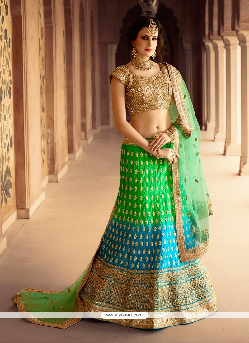 Brilliant Satin Designer A Line Lehenga Choli