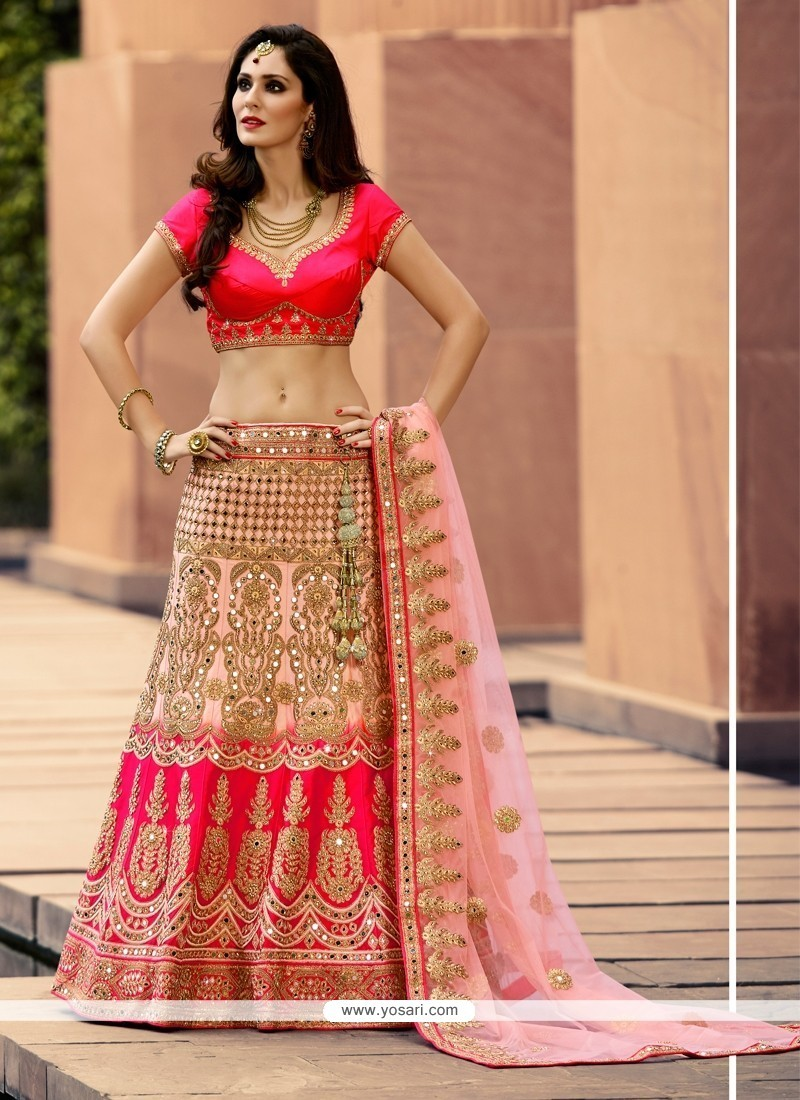 Splendid Satin Patch Border Work Designer A Line Lehenga Choli
