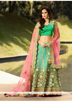 Extraordinary Satin Sea Green Designer A Line Lehenga Choli