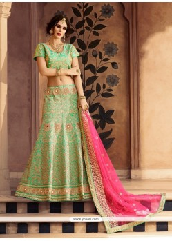 Modern Art Silk Sea Green Embroidered Work Designer A Line Lehenga Choli