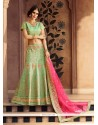 Modern Art Silk Sea Green Embroidered Work Designer A Line Lehenga Choli