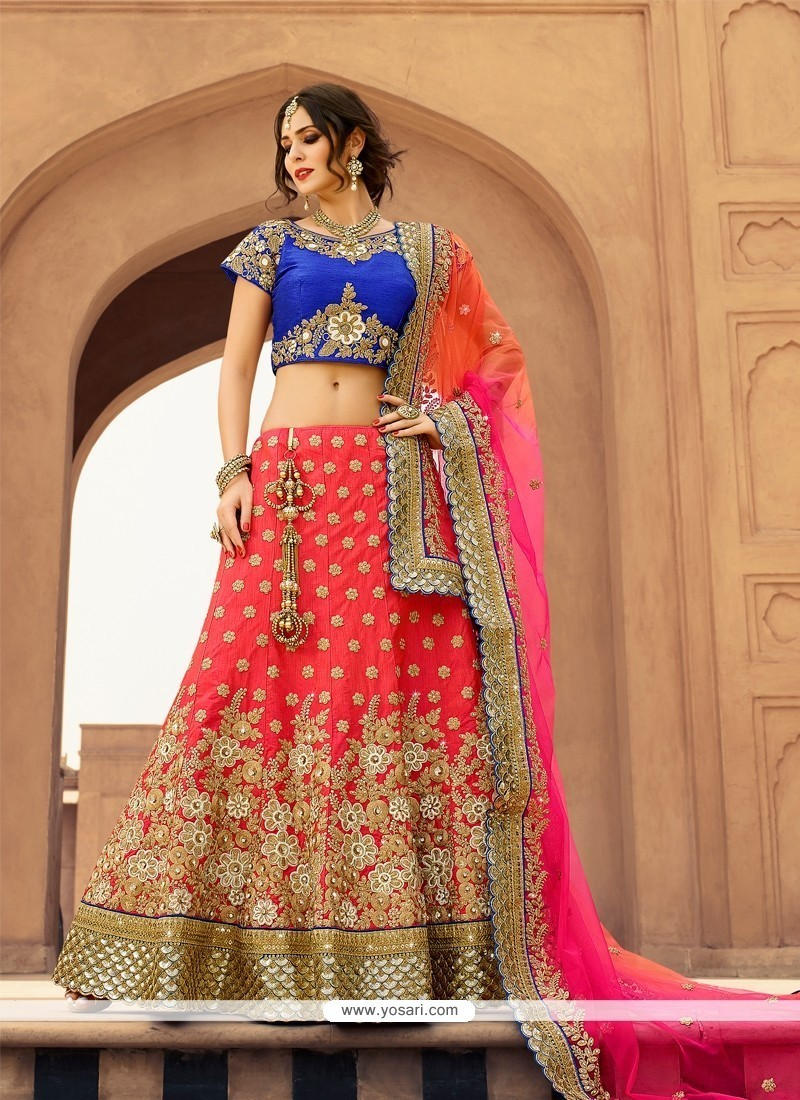 079f1ad30b Buy Chic Rose Pink Designer A Line Lehenga Choli Online : USA, UK