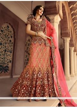 Resham Net Designer A Line Lehenga Choli In Rose Pink