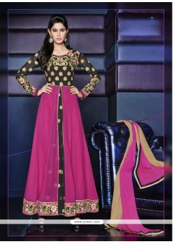 Pink And Black Zari Work Anarkali Suit