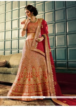 Entrancing Art Silk Patch Border Work Designer A Line Lehenga Choli
