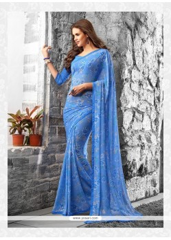 Celestial Blue Print Work Georgette Casual Saree