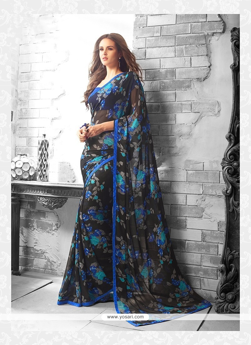 Celestial Print Work Black Georgette Casual Saree