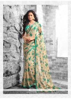 Engrossing Cream Georgette Casual Saree