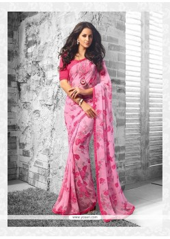 Print Georgette Casual Saree In Pink