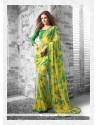 Energetic Georgette Yellow Print Work Casual Saree
